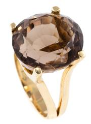 Sale 8899 - Lot 347 - A 14CT GOLD QUARTZ COCKTAIL RING; featuring an oval cut smoky quartz of approx. 19ct to split shoulders, size P, wt. 10.91g.