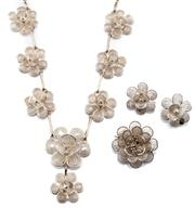 Sale 8954 - Lot 325 - A SILVER JEWELLERY SUITE; necklace, brooch and clip earrings all featuring cannetille style floral clusters, necklace length 45cm.