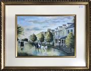 Sale 8964 - Lot 2046 - N Boardman  An Edwardian Residential Street Scene with Terraces Houses, 1977 oil painting, 48 x 58cm, signed and dated