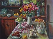 Sale 8979A - Lot 5054 - Magaret Olley (1923 - 2011) - Ranunculus and Pears 51 x 68 cm (frame: 79 x 96 x 4 cm)