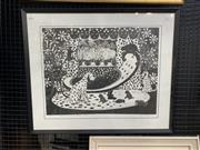 Sale 9008 - Lot 2017 - Pat Rowley Spot the Dog with Pups and Cats linocut ed. 15/20, 67 x 80cm (frame) signed