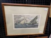 Sale 9008 - Lot 2027 - Pair of handcoloured engravings After Frederick Schell Sydney Harbour from Shark Point & A Yacht Race in Sydney Harbour frames: 34...