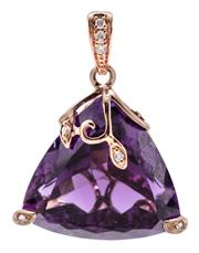 Sale 9090J - Lot 345 - AN AMETHYST AND DIAMOND PENDANT; trilliant cut amethyst of approx. 22ct set in a 9ct rose gold scrolling frame and bale set with 7 r...