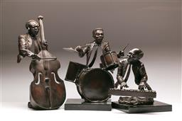 Sale 9122 - Lot 151 - A Set Of Three Bronze On Marble Busts Of A Jazz Trio (Tallest H: 49cm)