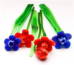 Sale 9119 - Lot 109 - A group of Murano style glass long stemmed flowers, (tallest H:32cm)