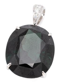 Sale 9132 - Lot 592 - AN 18CT WHITE GOLD DIAMOND AND STONE SET PENDANT; SYNTHETIC 4.08G
