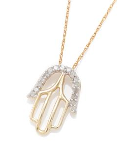 Sale 9149 - Lot 555 - A 10CT GOLD DIAMOND BLESSING PENDANT NECKLACE; in the form of a Hamsa Hand set with 16 single cut diamonds totalling approx. 0.10ct,...
