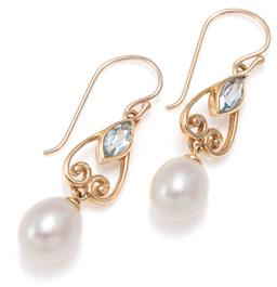 Sale 9156J - Lot 332 - A PAIR OF NOUVEAU INSPIRED PEARL AND TOPAZ EARRINGS; each a marquise cut blue topaz set in a pear shape scroll frame suspending a cu...