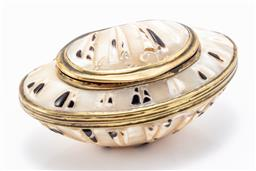 Sale 9180E - Lot 133 - A brass bound mother of pearl shell trinket case, Length 6.5cm