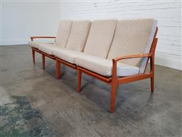 Sale 9188 - Lot 1157 - Vintage four seater lounge suite in two sections with woven back and upholstered cushions (h:77 x w:220 x d:52cm)