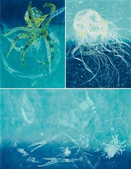 Sale 9189A - Lot 5076 - FRANK HODGKINSON (1919 - 2001) (4 works) 'Octopus (2); Chinorex, Reef, 1997' etchings and aquatints with hand-colouring, eds. 32, 42.