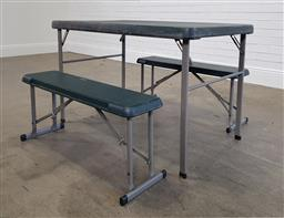 Sale 9215 - Lot 1525 - Folding camping table & pair of bench seats