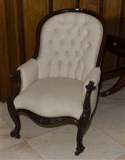 Sale 7981B - Lot 17 - A substantial English carved Mahogany framed arm chair on castors upholstered in cream water mark fabric. C. Mid 1800's