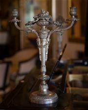 Sale 7984 - Lot 41 - A pair of French silvered metal renaissance style candelabra