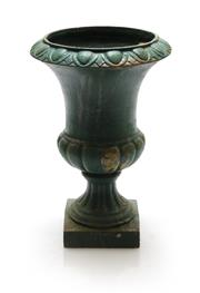 Sale 8202A - Lot 25 - An old French cast iron garden urn, painted green, H 30cm