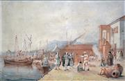 Sale 8316 - Lot 592 - Joseph Cartwright (1789 - 1829) - The Quarantine Station of Lefkada Island, 1821 38 x 59cm
