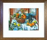 Sale 8800 - Lot 155 - A Margaret Olley coloured etching, Basket of Oranges, Lemon and Jug, ed 29/150, signed in mount Margaret Olley 2011, overall size...
