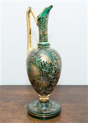 Sale 8338A - Lot 65 - A possibly Victorian Moser enamelled and hand painted green glass jug, H 33cm