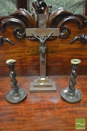 Sale 8359 - Lot 1012 - An Oak Crucifix, TOGETHER with a pair of oak barley twist candlesticks.