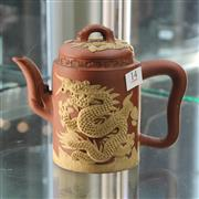 Sale 8369 - Lot 14 - Early Chinese Teapot with Overlay Dragon Motif