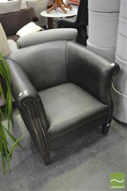 Sale 8406 - Lot 1183 - Green Leather Studded Tub Chair