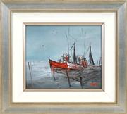 Sale 8443 - Lot 545 - Hugh Sawrey (1919 - 1999) - Prawning Boats (Southport QLD) 23.5 x 28.5cm