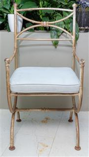 Sale 8568A - Lot 176 - A Fanuli wrought iron armchair with loose canvas cushion, H of back