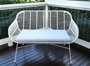 Sale 8858H - Lot 3 - Outdoor White Two Seater Bench with Padded Cushion, H 87 x L 130 cm, as new -
