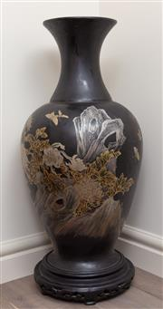 Sale 8868H - Lot 93 - An oriental ebonised and gilt vase, Height 114cm