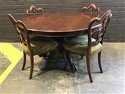 Sale 8993 - Lot 1015 - Victorian Mahogany Supper Table, with turned pedestal & three outswept legs having paw feet (h:72 x d:121cm)