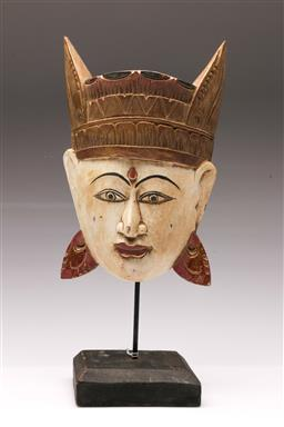 Sale 9098 - Lot 433 - South East Asian Painted Wooden Mask on Stand H:36cm