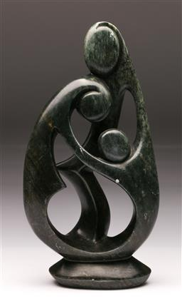 Sale 9119 - Lot 137 - A large modernist freeform soapstone figural group , initialled to base, (H:41.5cm)
