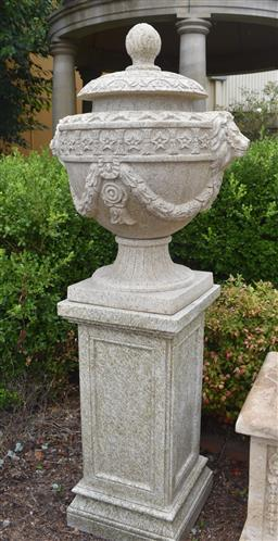 Sale 9135H - Lot 55 - A pair of hand carved stone urns on matching stone plinths.  base Height 82cm x 42cm Width x Depth 42cm, Urn 60cm Height, 36cm Depth...