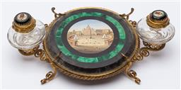 Sale 9099 - Lot 33 - A desk inkwell set depicting the Vatican city with malachite insert, Width 24cm