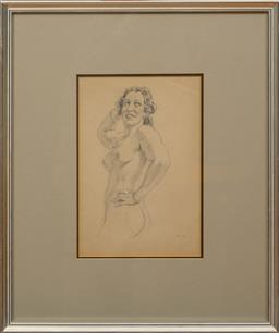 Sale 9150J - Lot 3 - NORMAN LINDSAY (1879 - 1969) Nude pencil 27 x 17 cm signed lower right
