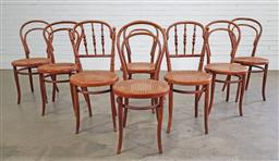 Sale 9188 - Lot 1525 - Set of 6 bentwood dining chairs with rattan seats together with 2 similar chairs (h90 x w40 x d40cm)