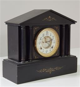 Sale 9215 - Lot 1031 - Late 19th Century American Ansonia Black Slate Mantle Clock, of temple form with columns, having two-train movement, recessed enamel...