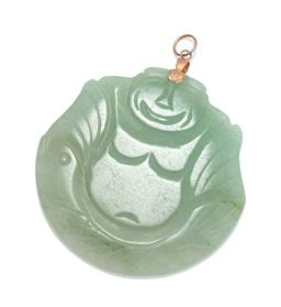 Sale 9253J - Lot 491 - A CARVED HAPPY BUDDHA JADE GILT PENDANT; carved nephrite jade to gilt bail, size 63 x 53 x 6mm, wt. 29.26g.