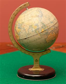 Sale 9260M - Lot 25 - A small terrestial desk top globe by Chad Valley Co Ltd of London, H 20cm