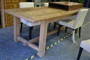 Sale 7987A - Lot 1185 - 240cm Raw Recycled Elm  Farmhouse Table on Stretcher Base