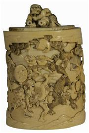 Sale 7988 - Lot 87 - Ivory Carved Lidded Container