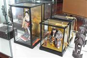 Sale 8022 - Lot 49 - 2 x Glass Cased Japanese Figures