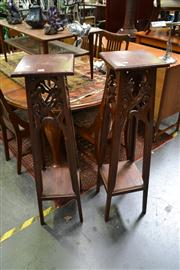 Sale 8147 - Lot 1036 - Pair Of Timber Plant Stands