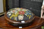 Sale 8460 - Lot 1069 - Early Mahogany Round Footstool, upholstered in floral needlework