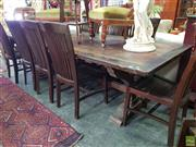 Sale 8566 - Lot 1358 - Large Stained Dining Table on Stretcher Base (265 x 110 x 76)