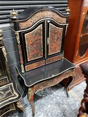 Sale 8728 - Lot 1010 - Boulle Style Red and Ebonised Bonheur Du Jour, with brass mounts and inlays allover, with arched top, two doors & two drawers, above...
