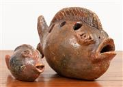 Sale 8868H - Lot 83 - Artist Unknown, Two glazed terracotta ceramic fish, larger of the two Length 26cm