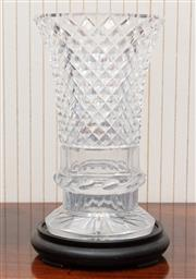 Sale 8881H - Lot 37 - A trumpet form cut crystal vase with faceted base, of good quality. Height 27cm
