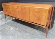 Sale 8984 - Lot 1029 - Scottish Made Beithcraft Teak Sideboard with 2 Doors, 3 Drawers and Drop Front Section (H:77 x W:184 x D:46cm)