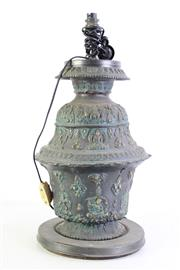 Sale 8997A - Lot 646 - Ornate Chinese Metal Table Lamp (H:57cm)